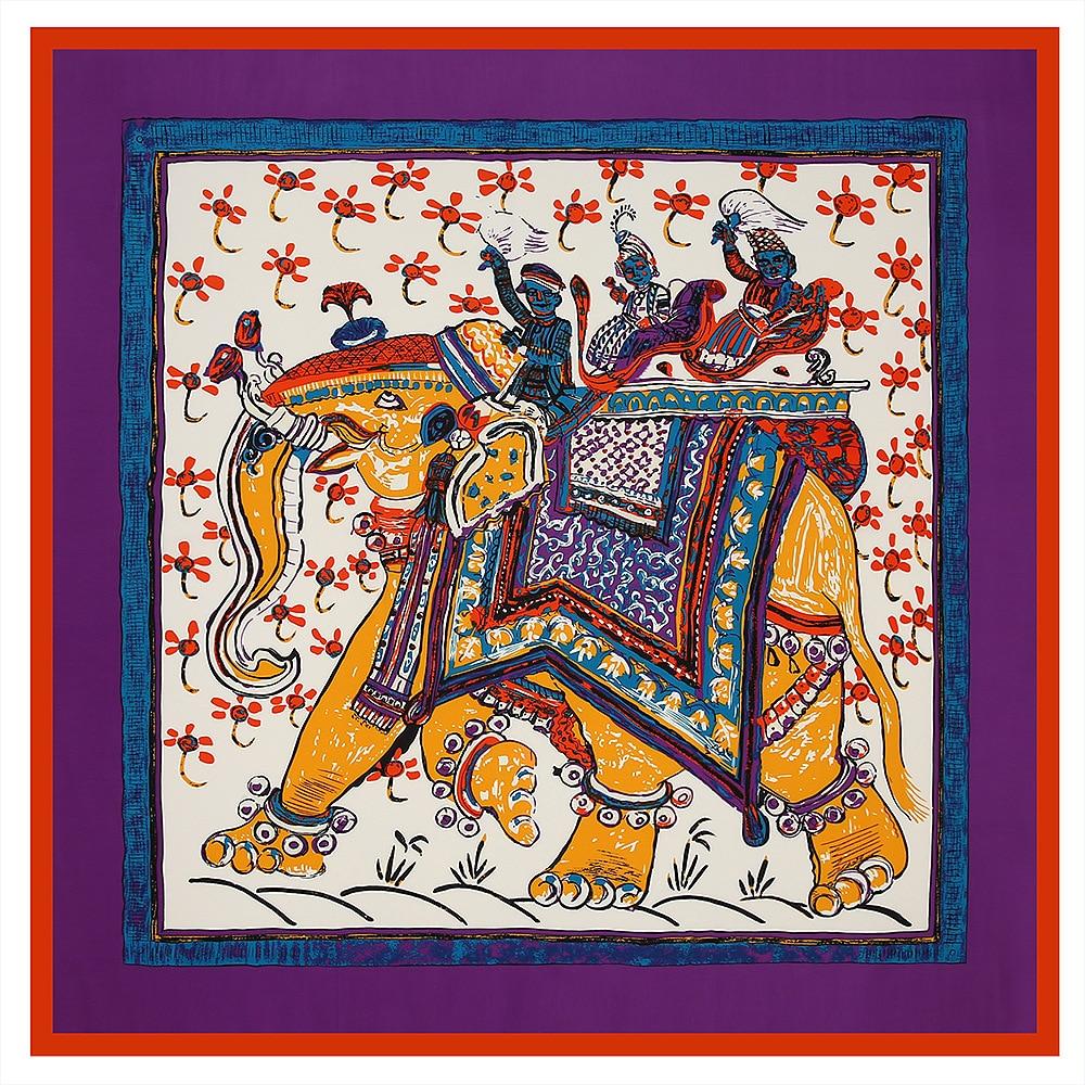 100*100cm Elephant Print Ethnic Style Ladies Silk Twillscarf  Square Banadana Female Large Shawls And Wraps Femme Foulard