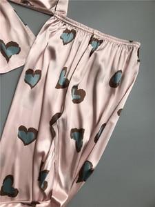 Image 4 - Pijama de satén de seda de imitación para mujer, ropa de dormir de manga larga, Sexy, para casa, 2 piezas