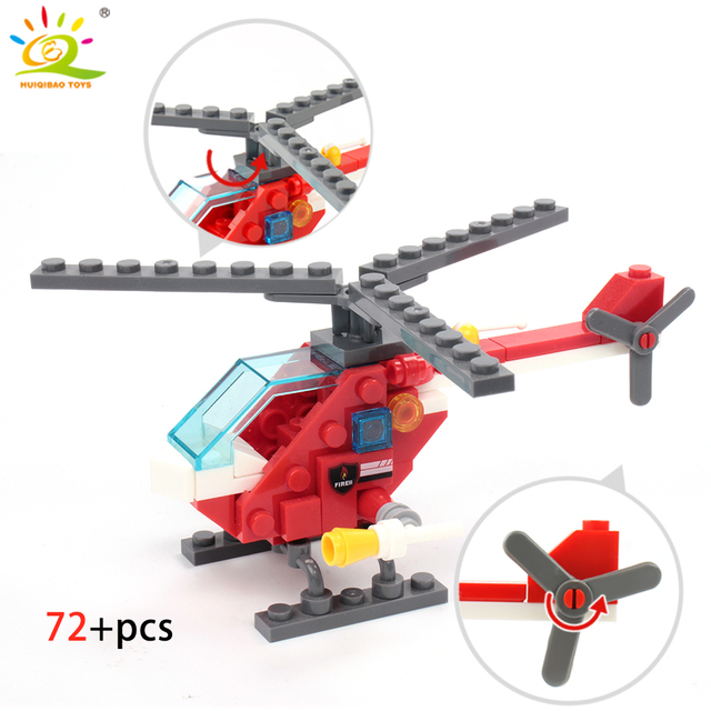 348pcs Fire Fighting 4in1 Trucks Car Helicopter Boat Building Blocks 5