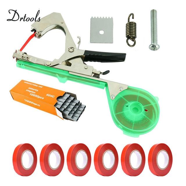 Drtools ใหม่คุณภาพสูงสาขามือผูกลวดเย็บกระดาษ + Tapener + TapesBinding เครื่องผักดอกไม้สวน tapetool 1 ชุด