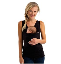 Women Mom Kangaroo Care Soothing and Breastfeeding Baby Carrier Wrap Shirts Men Dad Plus Size Tops
