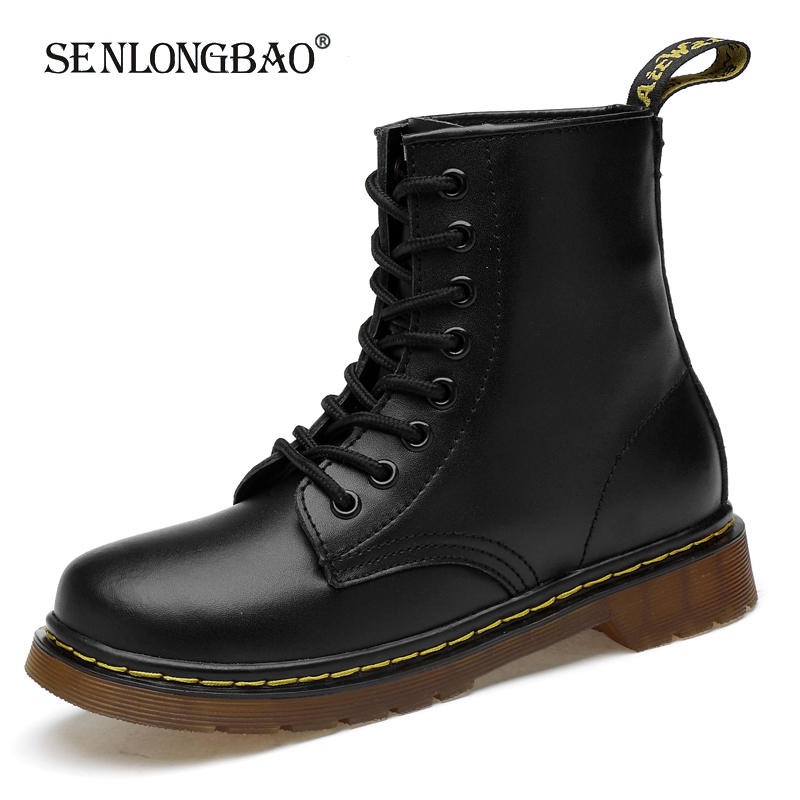 Men Warm Plush Snow Boots Leather Boots Motocrycle Boots Unisex Ankle Boots Classic England Style Male Work Shoes Big Size 36-46