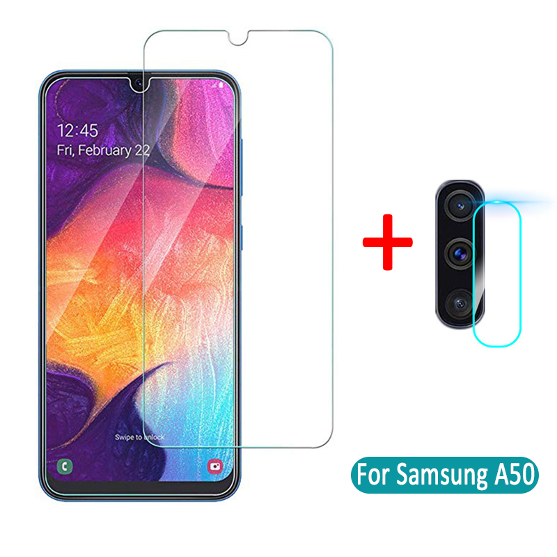 <font><b>2</b></font> in 1 for samsung galaxy a50 transparent glass for samsung galaxy a <font><b>50</b></font> tempered safety protective film glass screen protector image
