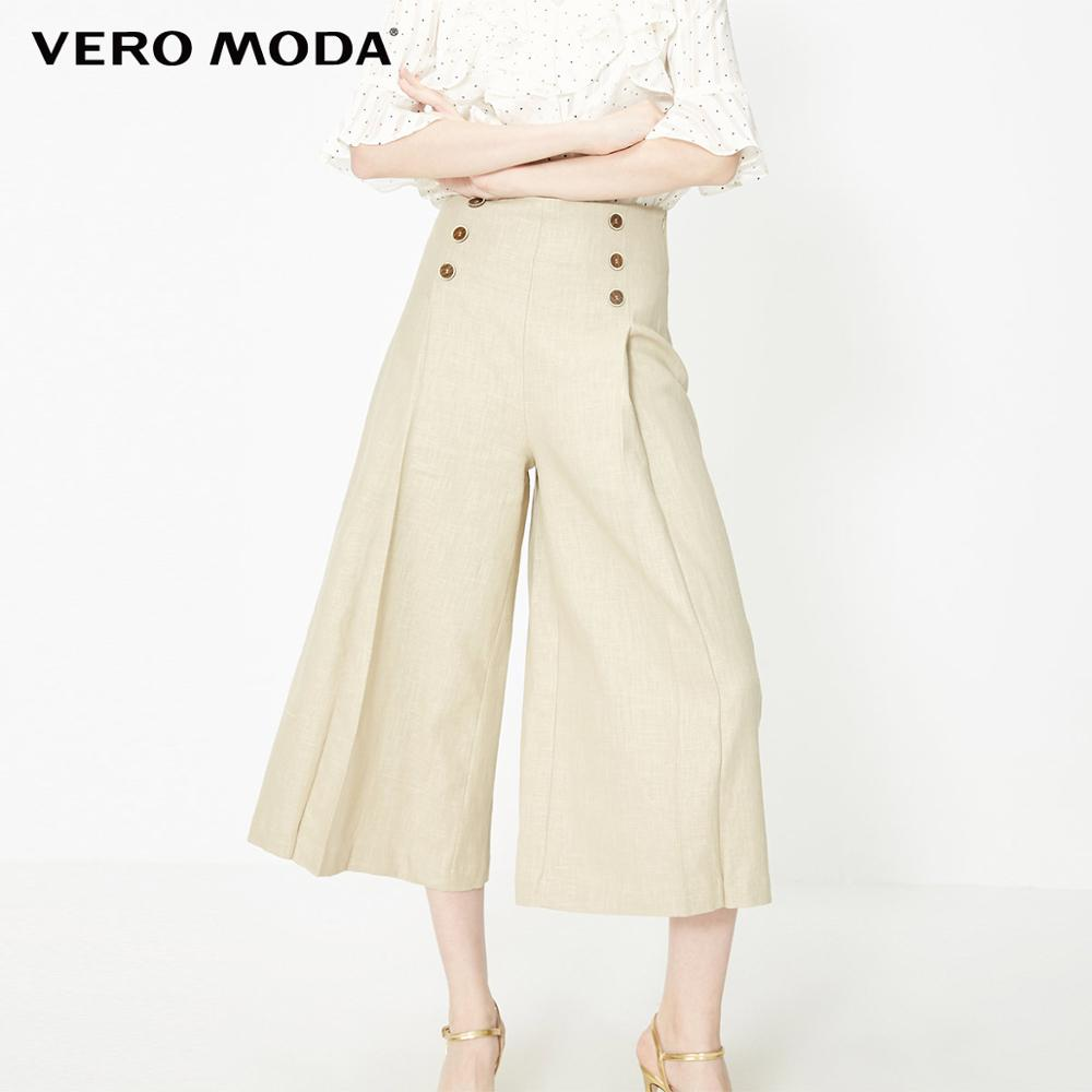Vero Moda Women's OL Style 62.8% Ramie Decorative Buttons Wide-leg Pants  | 31926J527