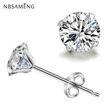 925 Sterling Silver Earrings Classic Cute Four Claw Zircon Stud Earings For Women Men Fashion Jewelry Wedding Small Studs 3-8mm(China)
