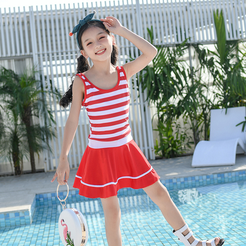 2019 New Style Children Swimsuit Skirt One-piece Boxer GIRL'S Large Children Baby Bubble Hot Spring Swimwear