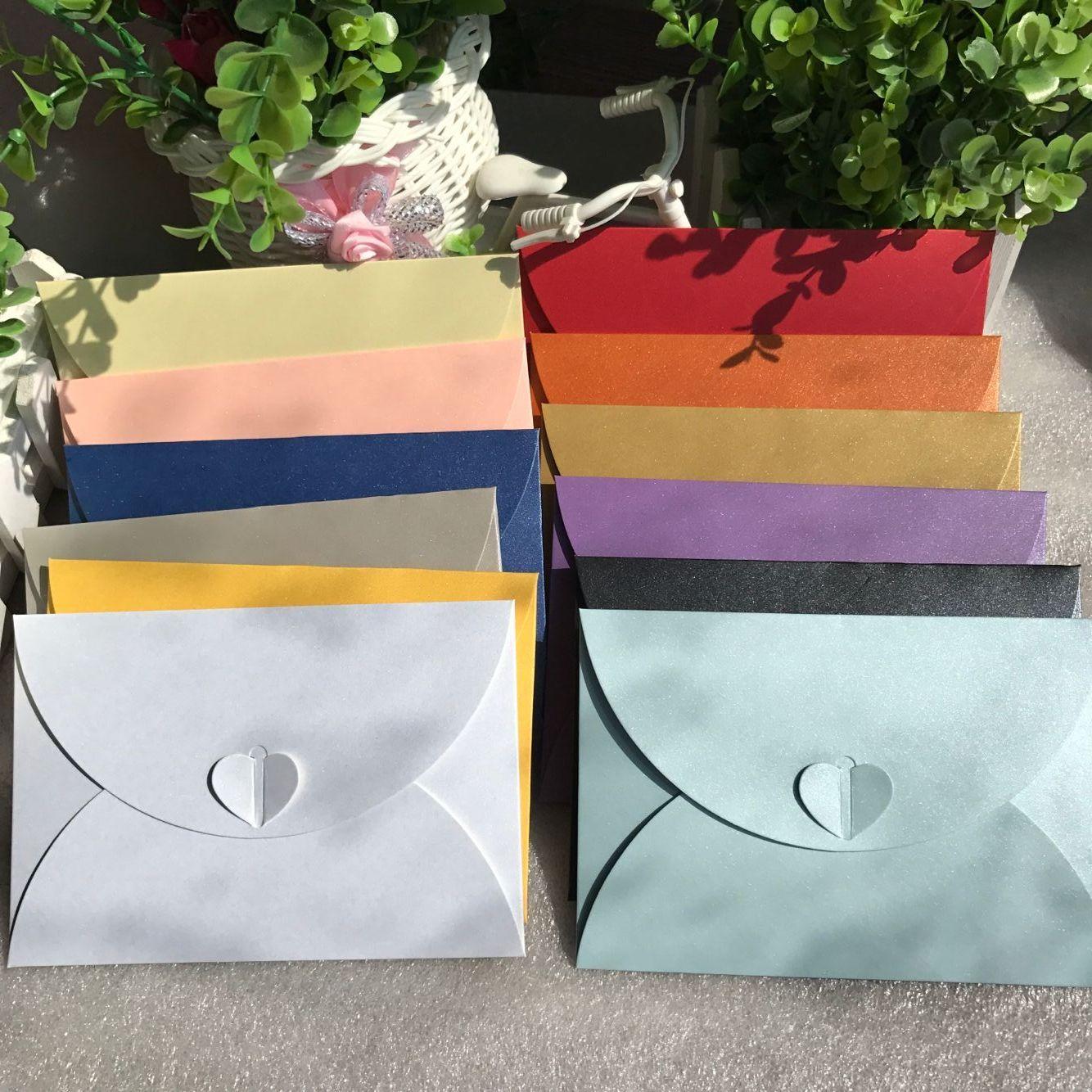 17.5*11cm Big 20pcs/bag Retro Love Buckle Envelope DIY Romantic Kraft Envelope Creative Heart Buckle Decoration Love Envelope