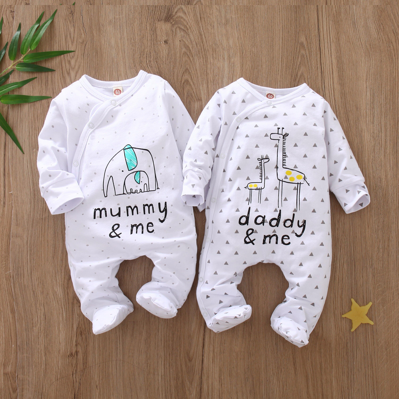 Для маленьких мальчиков и девочек; Хлопковый комбинезон с длинными рукавами и буквенным принтом, папа мама и я», комбинезон с надписью одежд...