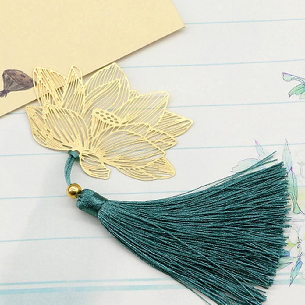Vintage Chinese Style Hollow Lotus Tassel Bookmark School Office Stationery Gift