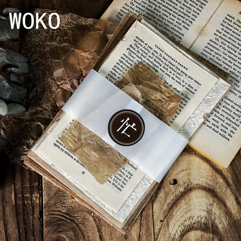WOKO 100pcs Vintage Foreign Page Kraft Paper Background Material Retro Fern Plant Wax Paper Label Sticker DIY Scrapbooking Album