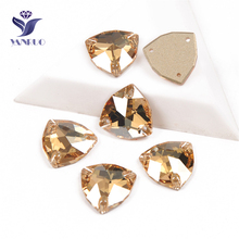 YANRUO 3272 All Sizes Golden Shadow Trilliant Flat Back Sewing Stones And Crystals Glass Strass Gold Rhinestones For Clothes