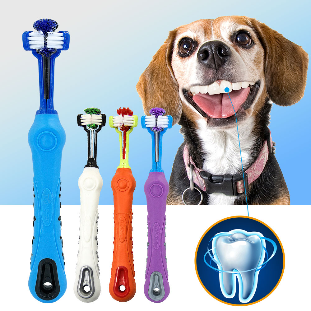 Soft dog toothbrush font b Pet b font cat three sides rubber bad breath Tartar teeth