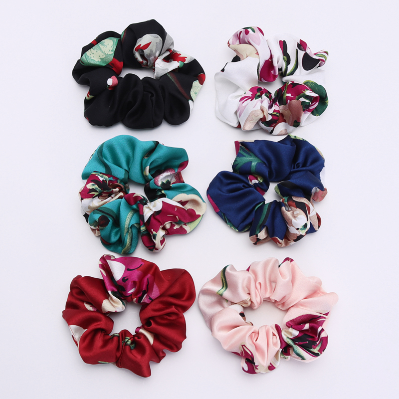New Women Satin Ribbon Hair Scrunchies  Print Elastic Hair Bands  Big Hair Rope Quality Ponytail Hair Holder Hair Accessories