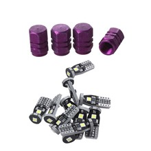 4 x Purple Hexagon Aluminum Alloy Tire Valve Caps for Car Auto & 12x 194 168 2825 W5W T10 Led Light Bulb 10-30V White(China)