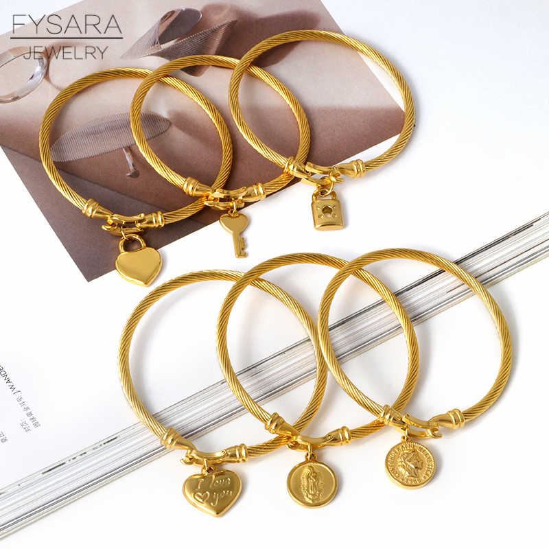 FYSARA Lover Heart Charms Bangles For Women Girl Stainless Steel Wire Cuff Bracelets Brand Designer Gold Color Wrist Pulseiras