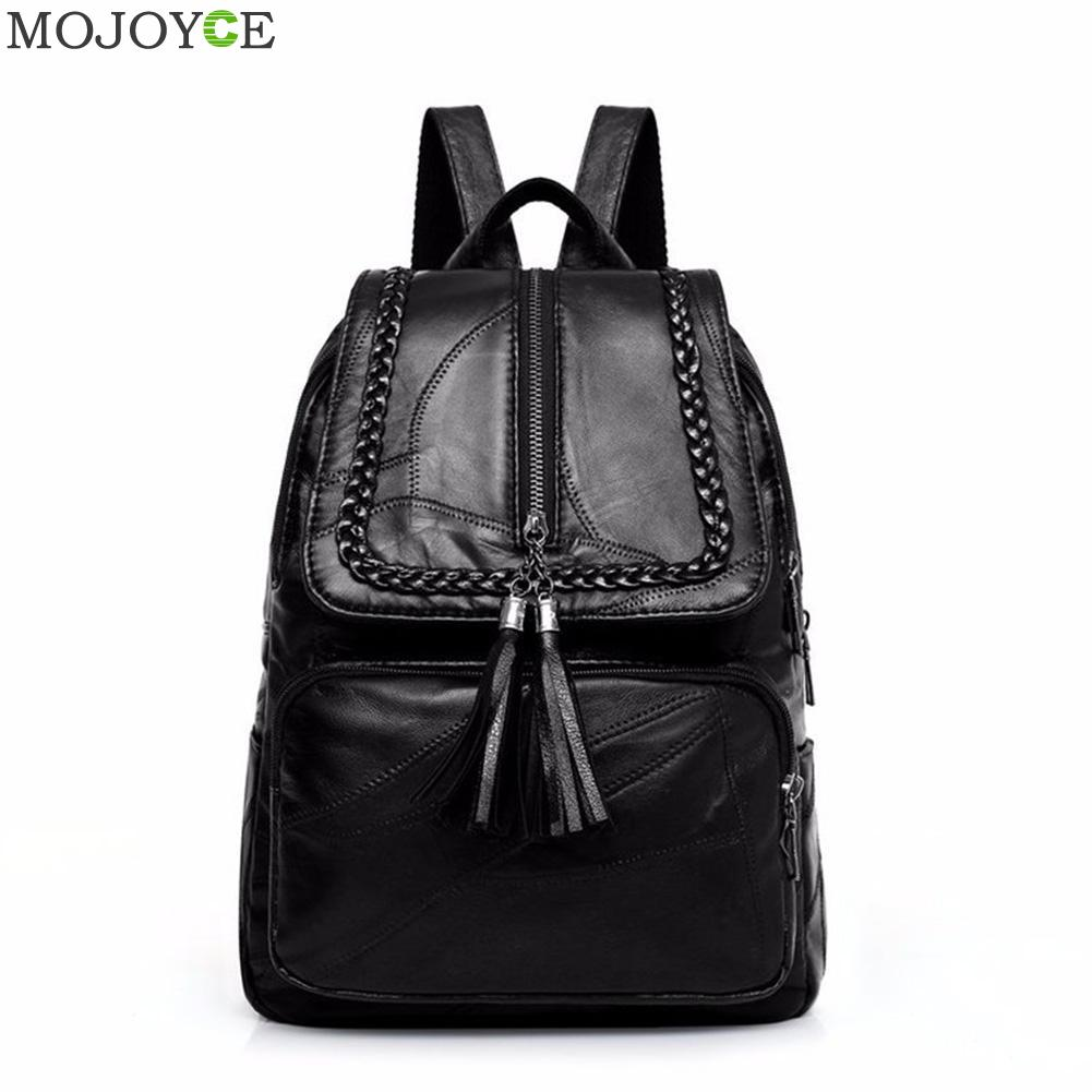 Women Travel Casual Backpack Leather Solid Color Fashion School Shoulder Bookbag Preppy Style Travel Casual Rucksack