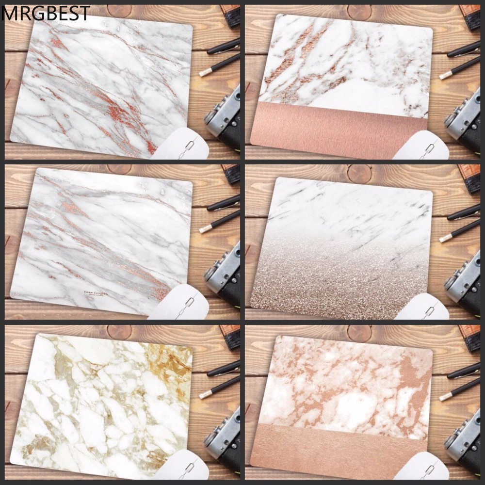 MRGBEST Big Promotion Russia Modern Faux Gold Glitter Marble Unique Desktop Pad Mousepads Computer Small Size 18X22CM Mouse Mat