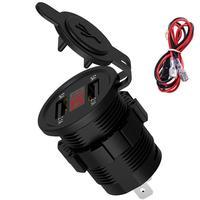 5V 2.1A Wasserdicht Dual Ports USB Ladegerät Buchse Adapter Steckdose mit Spannung Display Voltmeter für 12-24V Motorrad