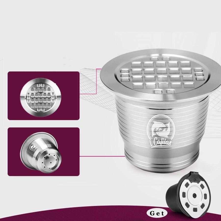 ICafilas Stianless Steel wielokrotnego użytku do Nespresso kapsułka z kawą wielokrotnego napełniania filtr Grinds sabotaż dostać 1 sztuk plastikowych kaset darmo