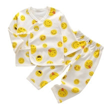 100% Cotton 2-Piece Baby Pajamas Set Long Sleeve Kimono Shirt and Essential Cute Pants for Newborn-6 Months H05C