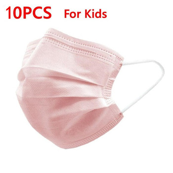 Black Pink Child Mask Disposable Protective Face Mask 3 Layer Nonwoven Anti-bacterial Dustproof Mouth Face Mask for Kids Health 10