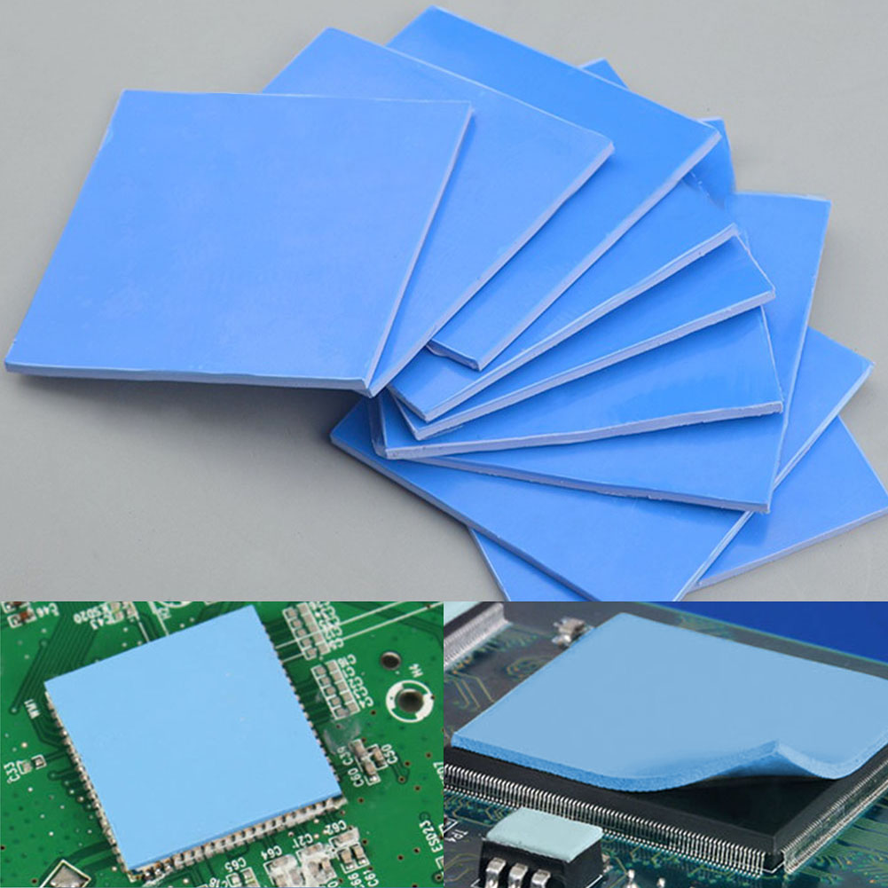 Silicone Pad Heatsink Sheet Blue Wear Resistant Accessories CPU Cooling Thermal Conductive Reusable Shock Absorption For Laptop