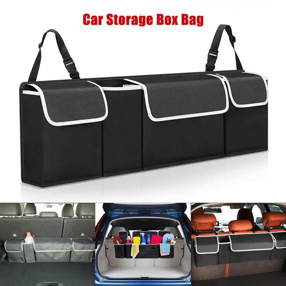 Black Car Trunk Organizer Rear Seat Storage Bag Nets Headrest Mount Universal 1x