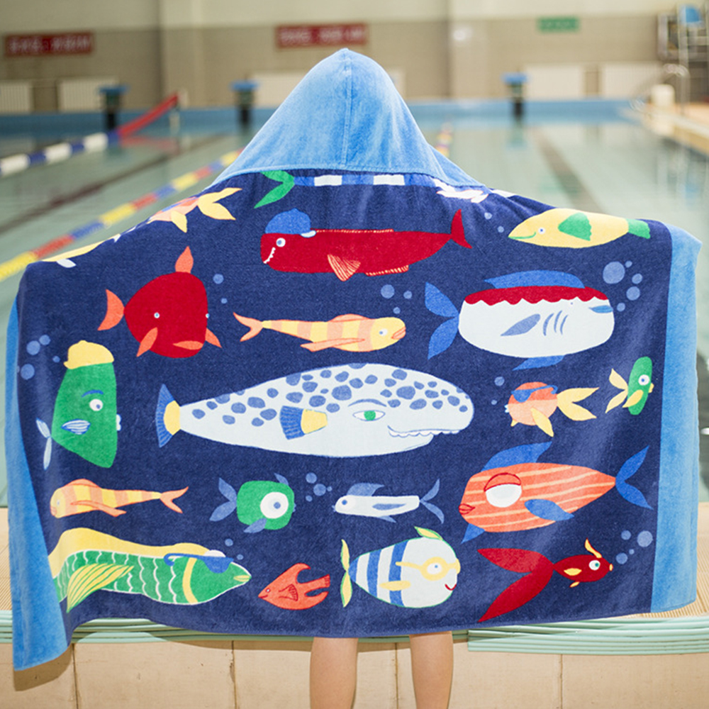 Catoon Kids Hooded Beach Towel Blanket Cotton Super Absorbent bath towel Bath Swim Pool Towel toalha Cape Cloak Children's towel