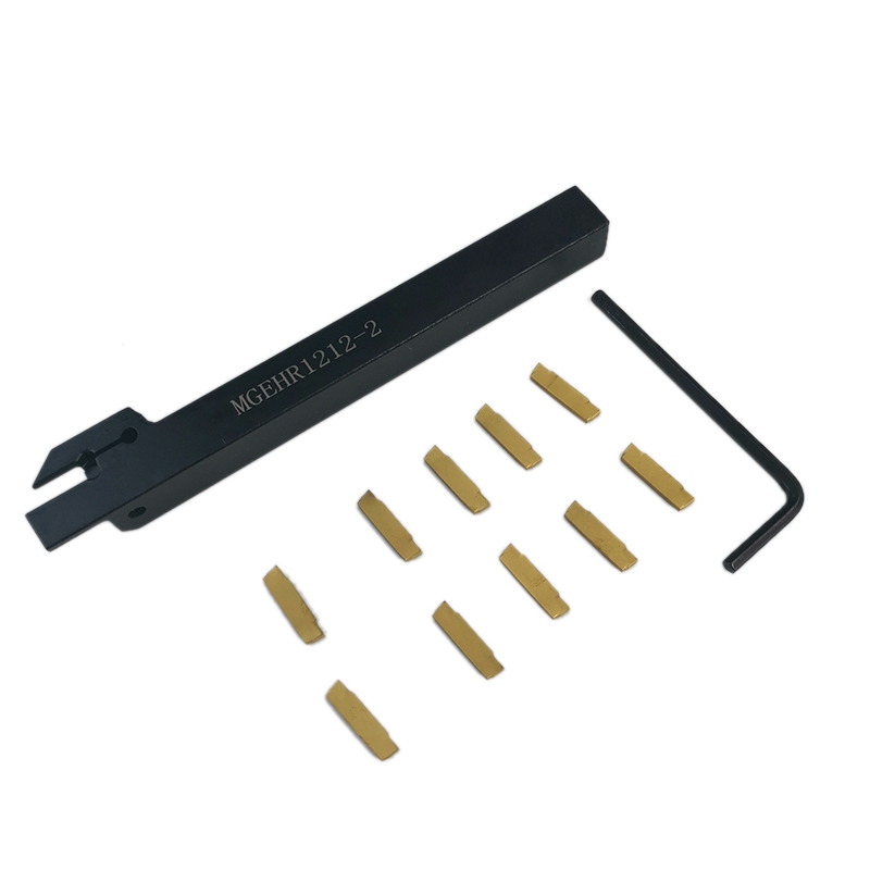 Practical CNC Lathe Turning Tool MGEHR1212-2 Cut-Off Tool Holder 12 X 12 X 100Mm Boring Bar + 10Pcs MGMN200-G Carbide Inserts Bl