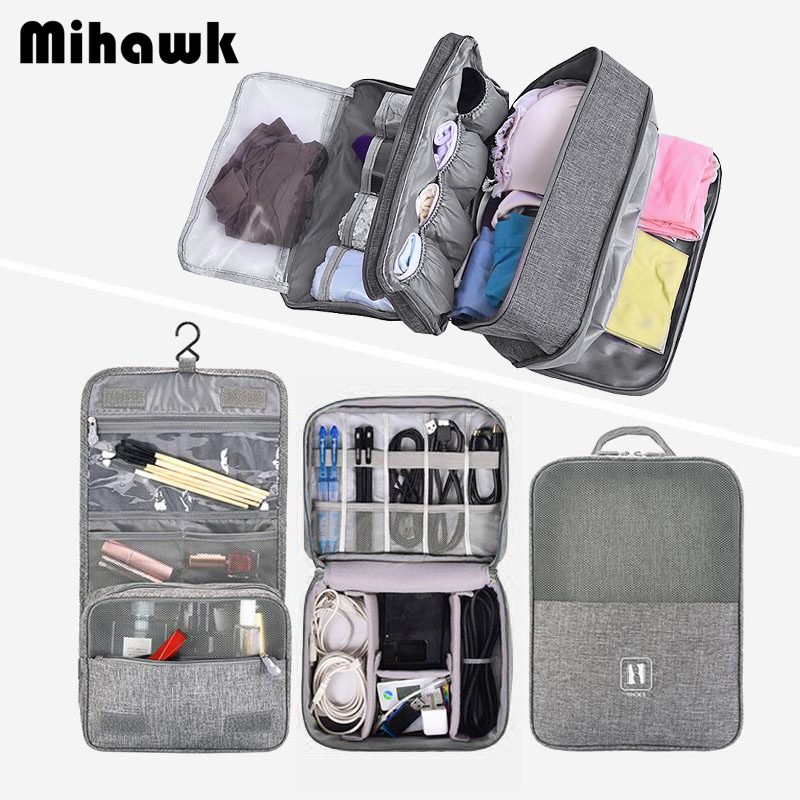Mihawk Men Bath Toiletries Pouch Travel Hanging Wash Cosmetic Bag Set Waterproof Underwear Shoes Case Makeup Suitcase Accessory