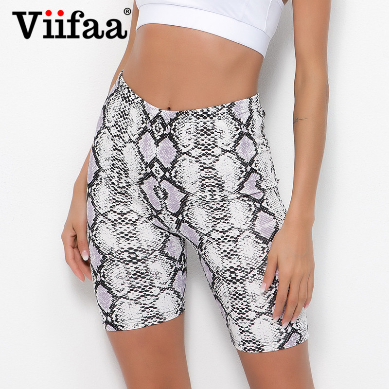 Viifaa Casual Snake Print Skinny Fitness Short Leggings Summer Women High Waist Workout Athleisure Cropped Legging