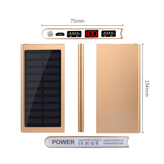Solar Power Bank External Battery 2 USB LED Powerbank Portable Mobile phone Solar Charger for Xiaomi mi iphone XS 8plus 20000mAH 5