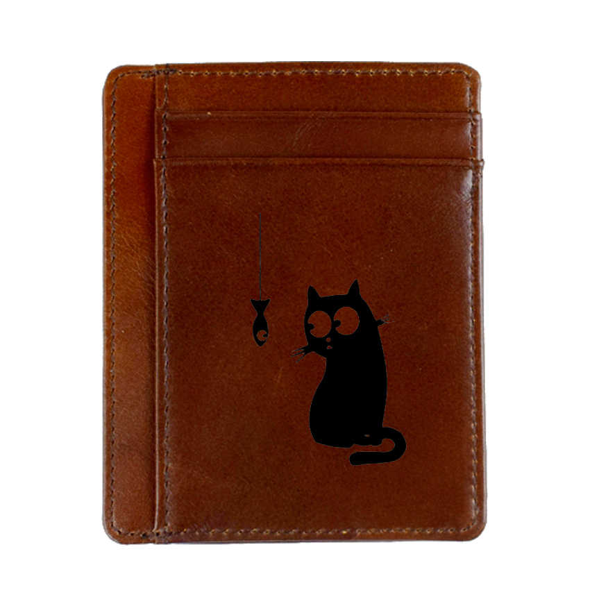 Gato pez divertido Animal tarjeta de crédito titular Delgado tarjeta caso monedero grabado imagen cuero tarjeta cartera