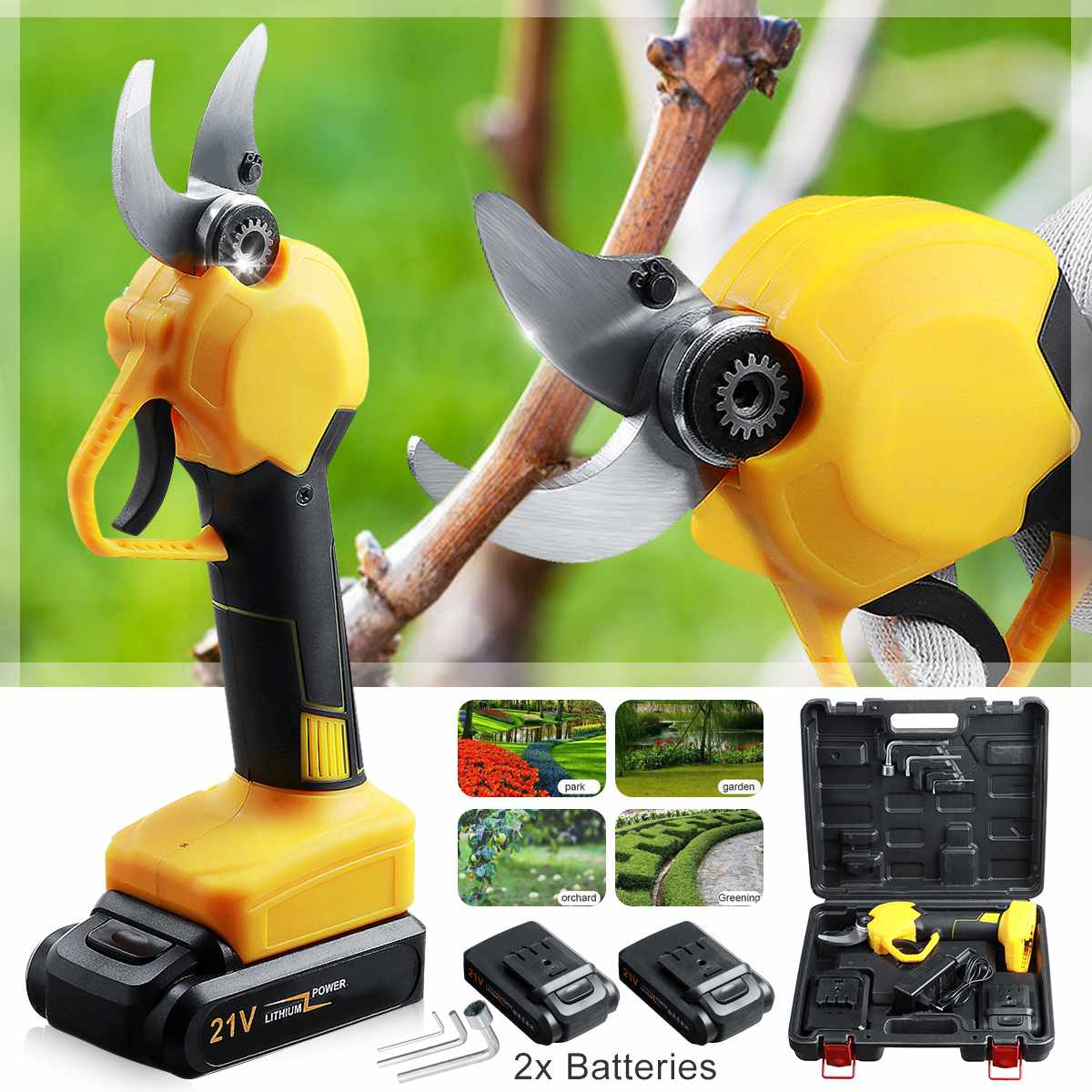 Brushless Electric Pruning Shears 30mm Rechargeable Pruner Trimmer Power Cutting Fruit Tree Bonsai Garden Scissors with Battery