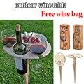 2021 neue Tragbare Outdoor Wein Tabelle Falten Freien Picknick Wein Tisch Holz Runde Desktop Reise Strand Garten Möbel Sets