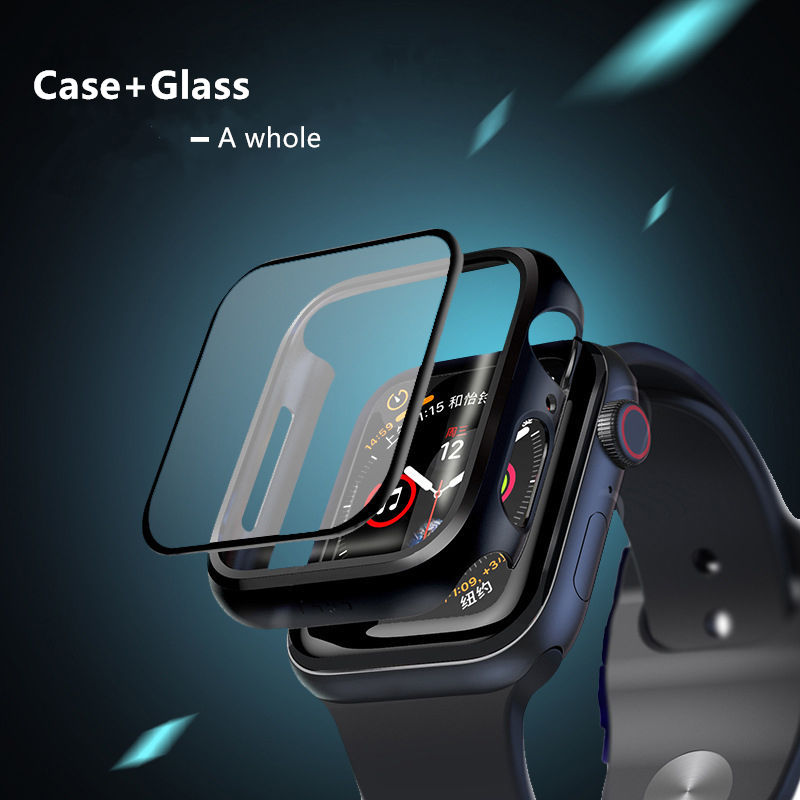 Glass+cover For Apple Watch case 44mm 40mm iWatch series 5 4 3 42mm 38mm protective bracelet apple watch Accessories 44 mm