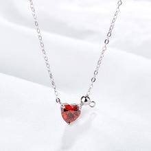 Silver 925 Jewelry Love Sterling Silver Necklace For Women Pomegranate Red Zircon Pendant Temperament Clavicle Chain