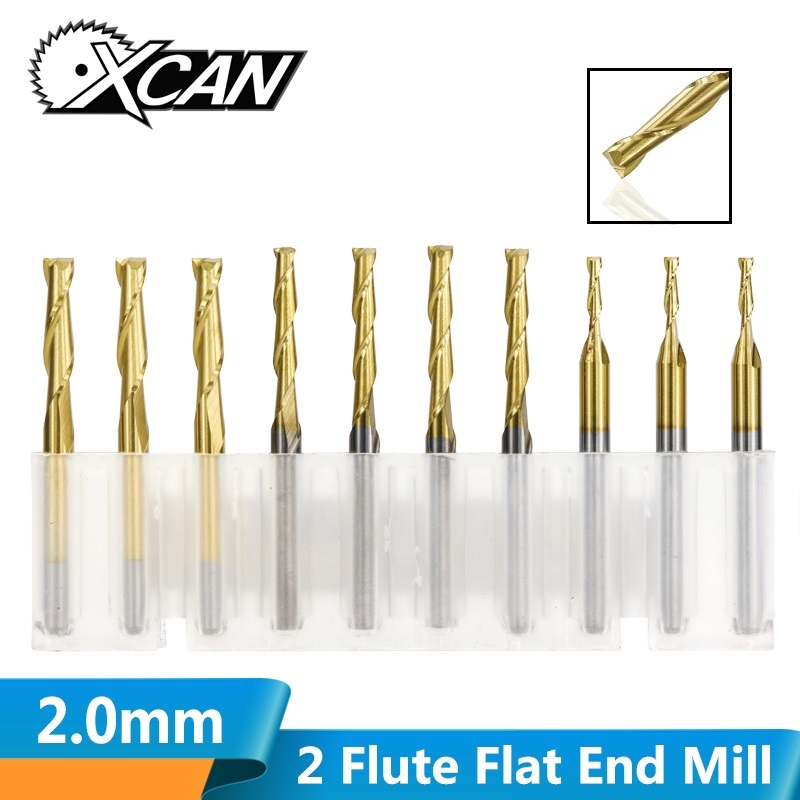 XCAN 10pcs 2.0mm 2 Flute Flat End Milling Cutter 8/12/17/22mm Cutting Length 3.175 Shank Carbide End Mill CNC Engraving Bit