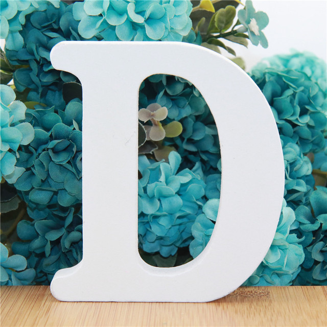 1pc 10cm White Wooden Letters Alphabet DIY Word Letter Party Wedding Home Decor Name Design Art Crafts Standing 3.94 Inches 4