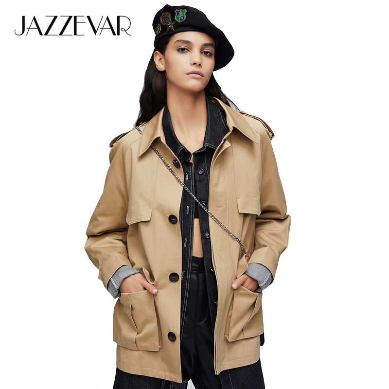 JAZZEVAR 2019 New arrival autumn trench coat women light color cotton double breasted short fashion women coat for autumn 9016