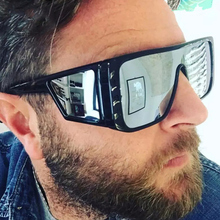Luxury Brand Oversized Shield sunglasses for men square big