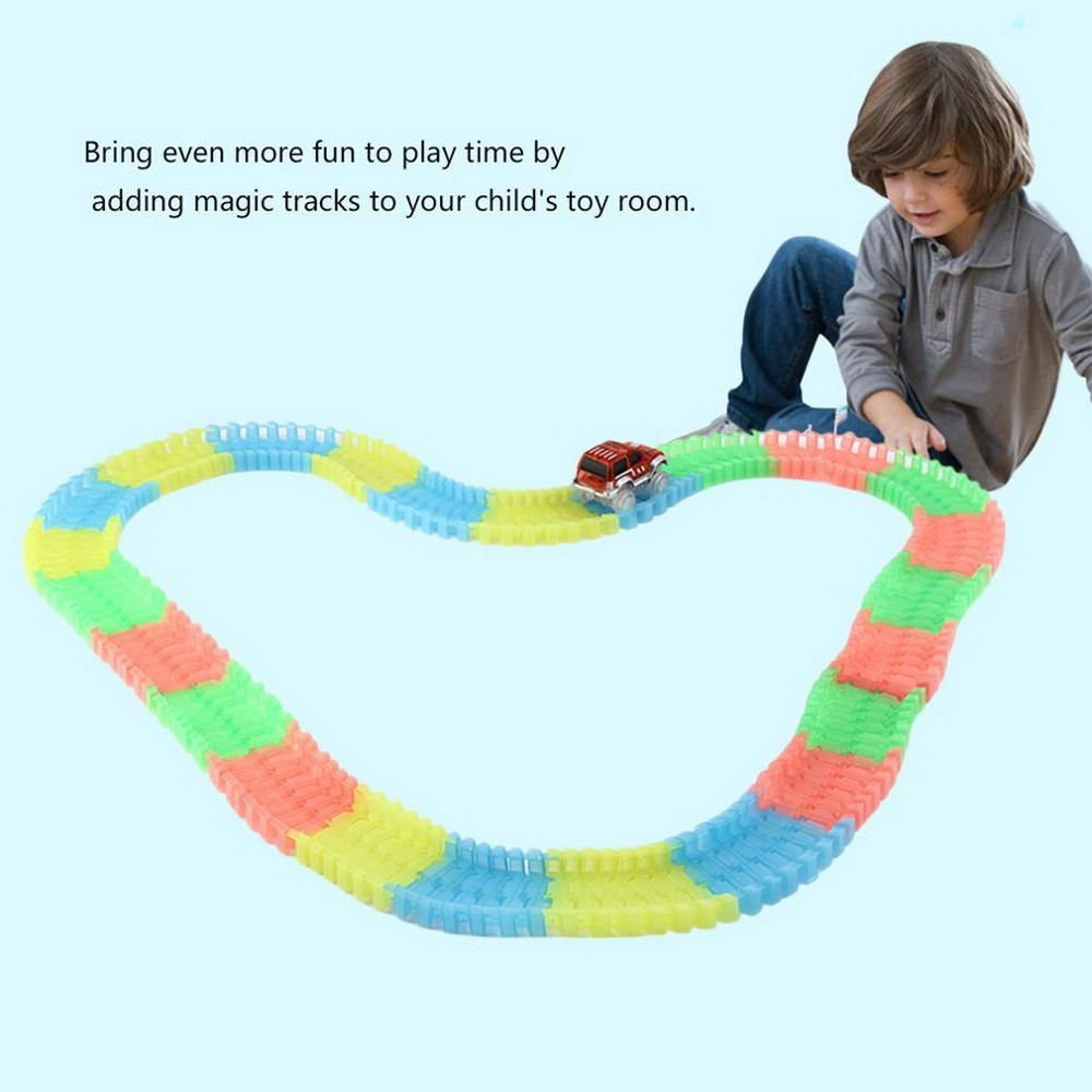 165 Pieces Of Tracks Glow In The Dark Led Light Up Race Car Bend Flex Wonderful Gift For Kids Children