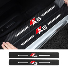 Car threshold protection 3D 4PCS carbon fiber car decoration For Audi A3 8P 8V 8V A4 B8 B6 A6 A7 C6 C5 Q2 Q3 Q5 Q7 Q8 TT TTS