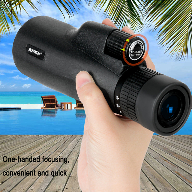 2021 Borwolf 12-36X50 Binoculars BAK4 Prism Optical Lens High Power Hunting Birdwatching Monocular Light Night Vision Telescope 6