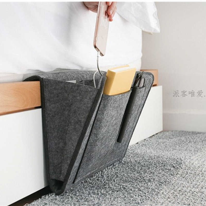 Students Bedside Storage Bag Felt Thick Multi-pockets Bedside Storage Bag