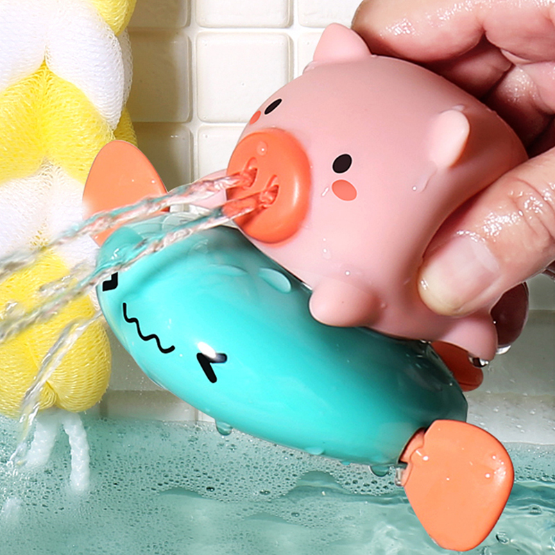 Bath Toys Cute Cartoon Animal Pig Classic Baby Water Spray Pig Water Toy Baby Swimming Turtle Water Toy Kids Beach Bath Toy