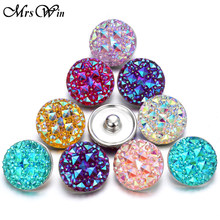 10 pcs/lot New Snap Button Jewelry Mixed Style Ginger Resin 18mm Snap Buttons fit Snap Bracelet Bangles Button Jewelry(China)