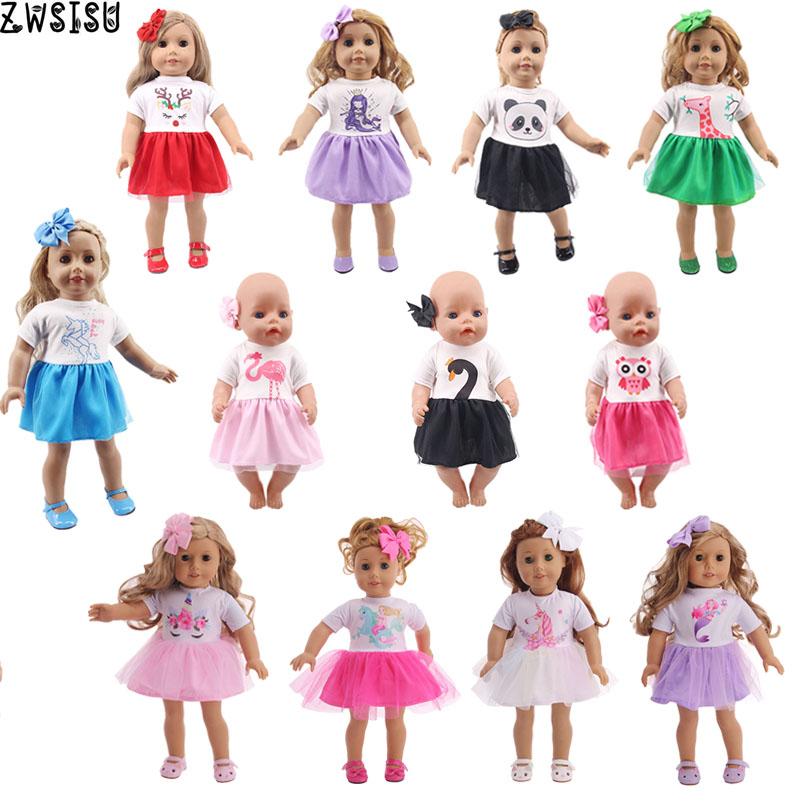 Doll Clothes Animals Patters Skirt Unicorn Dress Fit 18 Inch American Doll&43 Cm Baby Doll Our Generation Girl`s  Christmas Toy
