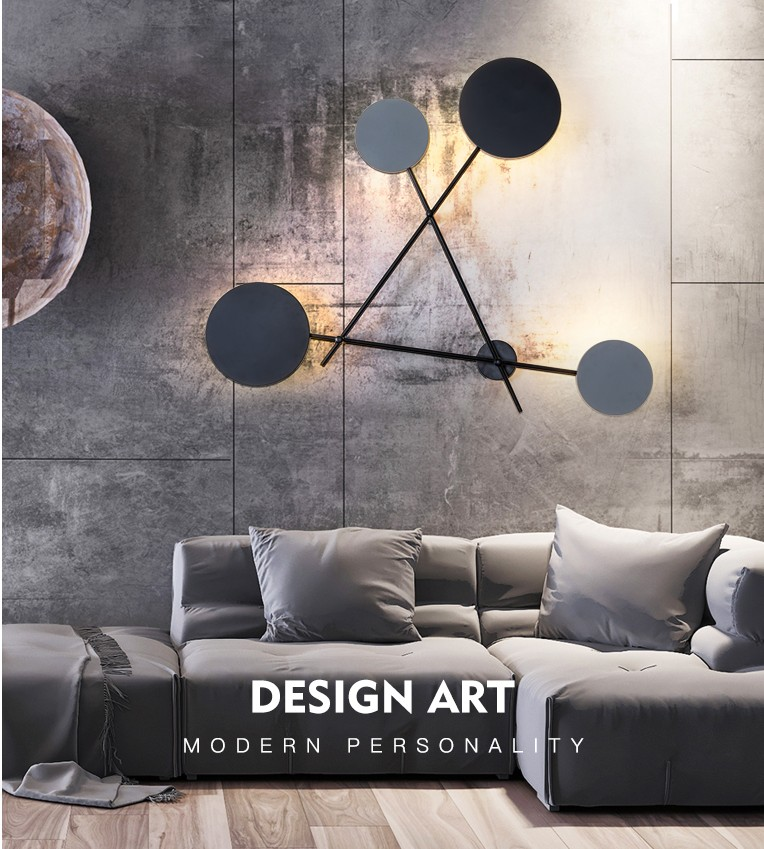 Modern Industry Round Wall Lamps Bedroom Bedside Lamp Led Wall Sconce Light Fixtures Black Iron Luminaire Indoor Loft Home