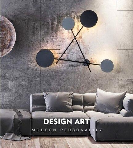 industria moderna lampadas de parede redonda quarto lampada cabeceira led arandela luminarias ferro preto luminaria